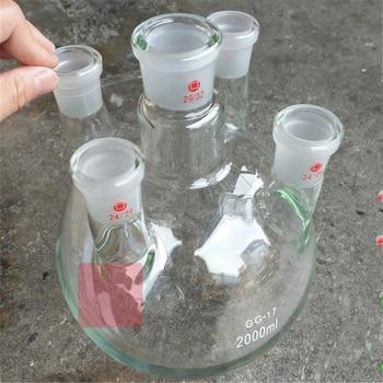 2000ml,24/29*5,5-neck,Round bottom Glass flask,Lab Boiling Flasks,five neck laboratory glassware reactor