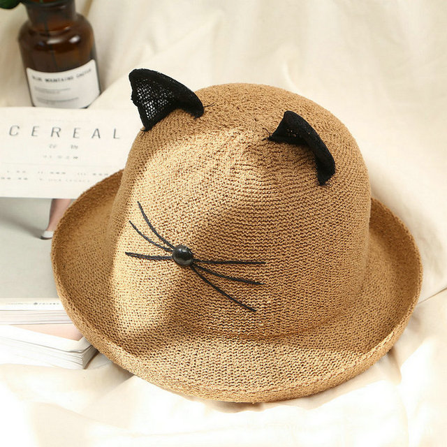 52c553df27a7 2019 Cute Girls Women Straw hat Cat Sun Hat Lace Ear Kids Large Brim Beach  Summer Fedora Chapeau Femme Bucket Hat Cap Headwear
