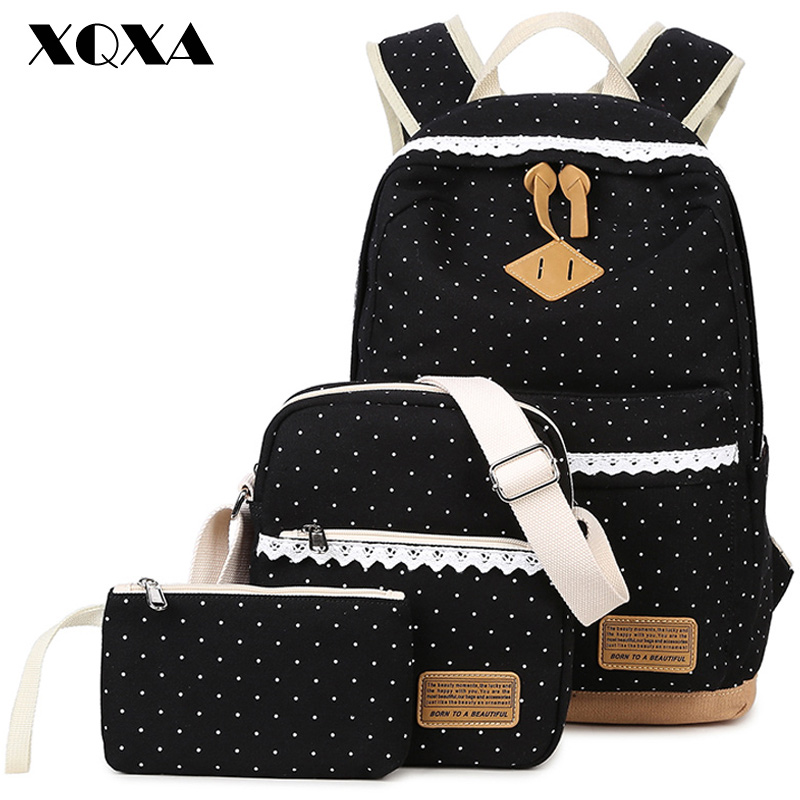 XQXA Dot Print Satchel Canvas Rucksack Backpacks School Bags for Teenage Girls Escolar Backpack for Women 3Pcs/Set Black 2018 new casual girls backpack pu leather 8 colors fashion women backpack school travel bag with bear doll for teenagers girls page 5