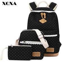 Xqxa dot printing satchel mochila de lona mochilas escolares para las niñas adolescentes mochila escolar mochila para las mujeres 3 unids/set