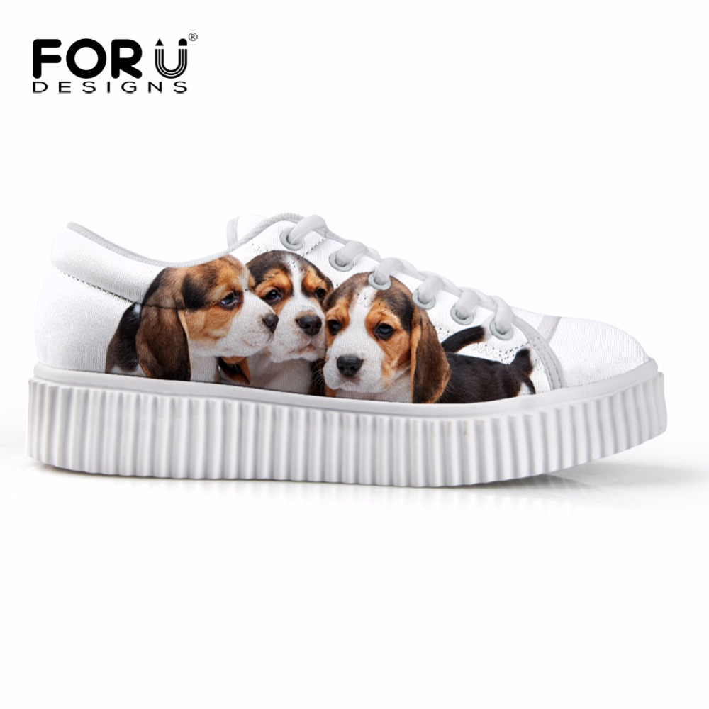 ФОТО Classic Whit Flats Platform Shoes for Women 3D Dog Puppy Husky Print Creepers Shoes Lace Up Thick Bottom Loafer for Ladies Girls