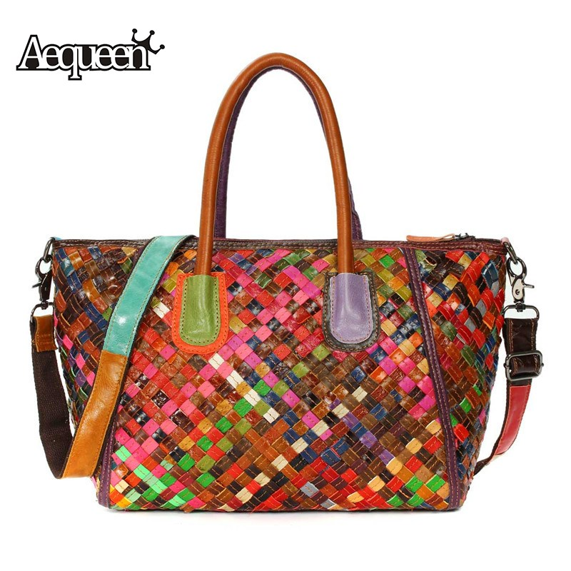 AEQUEEN Womens Genuine Leather Handbags Weave Crossbody Messenger Bag Colorful Female Top-handle Totes Bags Random Color weave genuine leather womens handbag hot handmade fashion black shoulder bag messenger crossbody bags large casual totes