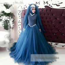 Hijab Long Sleeves Muslim Wedding Dress Luxury Beads Pearls Bridal Gowns Western Formal Dress Robe De Soiree Casamento A Line