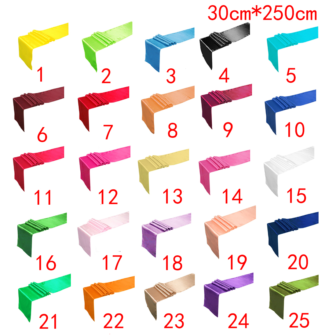 13 Colors 30*275cm Satin Table Runner For Wedding Engagement/Hotel Banquet/Fesival Decor