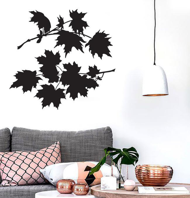 Leaves Maple Tree Wall Sticker For Bedroom Bush Beautiful Petals Vinyl Decals Modern Nature Living Room