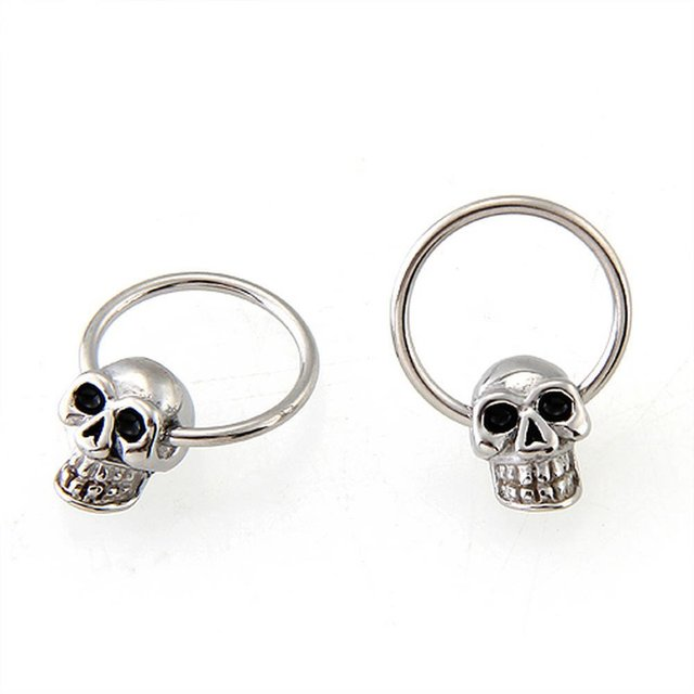 Skull Round Hoop Stud Earrings1