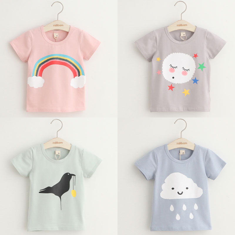 Girls t-shirt shirts Kids T-shirts For Girls boys Children T-Shirts For girls Short Sleeve Tops Baby Cotton Clothing B03 2017 children clothes kids t shirts adventure time 100% cotton white t shirt for boys and girls tops baby tshirt free shipping