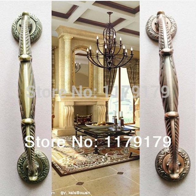 high quality 305mm vintage brass ktv hotel  office  home wood glass door pulls handles  bronze big gate door handles