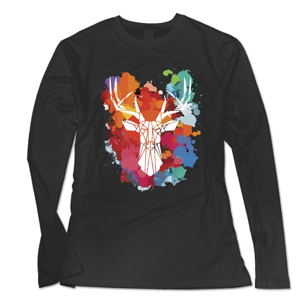 SAMCUSTOM New Fashion Long Sleeve T Shirt Women Moose Stag Or Raindeer 3D print Personality casual female T-shirt
