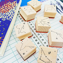 Creative wooden seal 12 constellation seal wood rubber hand book album diary decoration DIY stamp 25pcs love diary rubber wooden stamp set diy with wooden box
