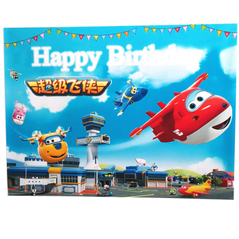 Baby Showers For Boy | 1PCS Super Wings Theme Decoration Birthday Party Background Poster Baby Shower Kids Boys Favors Events Supplies 60*80 CM