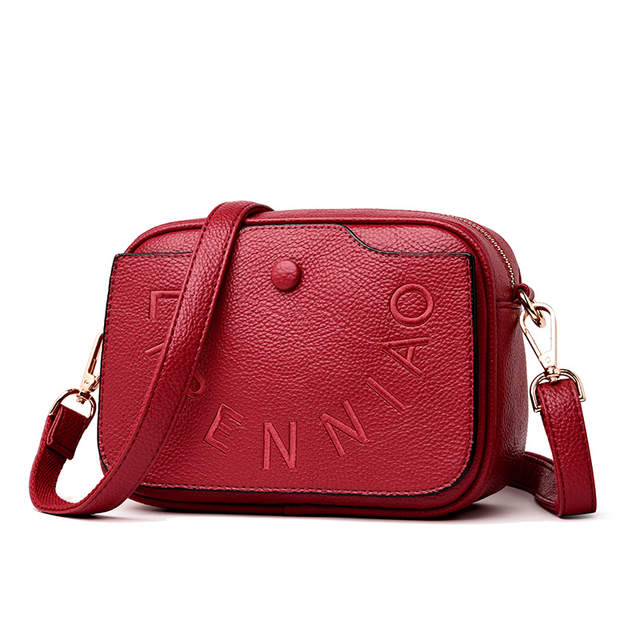 dfbb568ca75 2019 High Quality Small Women 100% Genuine Cow Leather Message Bag  Crossbody Bag Designer Purse Luxury Fashion Female Red Clutch