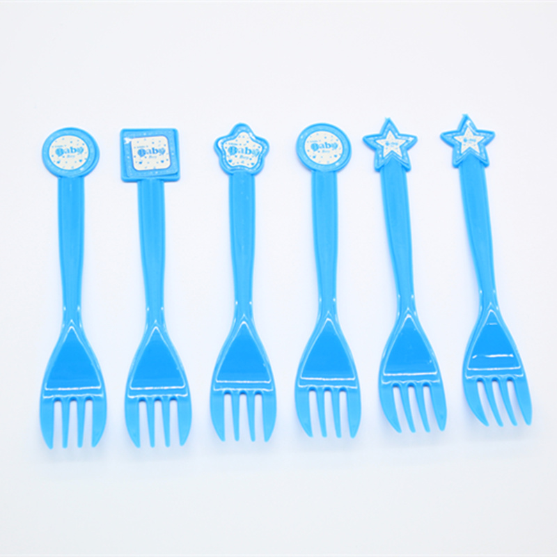 6pc/set fork birthday party event holiday disposable tableware boy theme gender reveal theme blue supplies