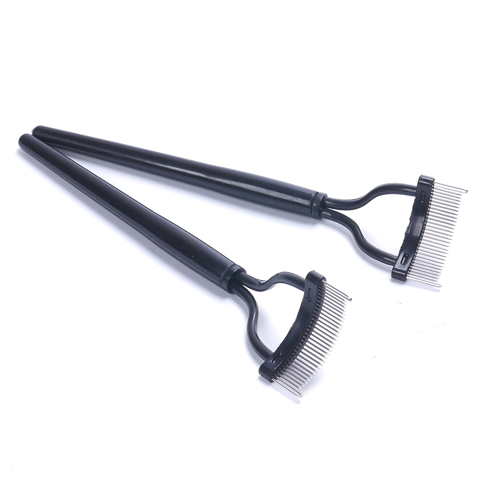 Makeup Mascara Guide Applicator Steel Needle Eyelash Comb Eyebrow Brush Curler