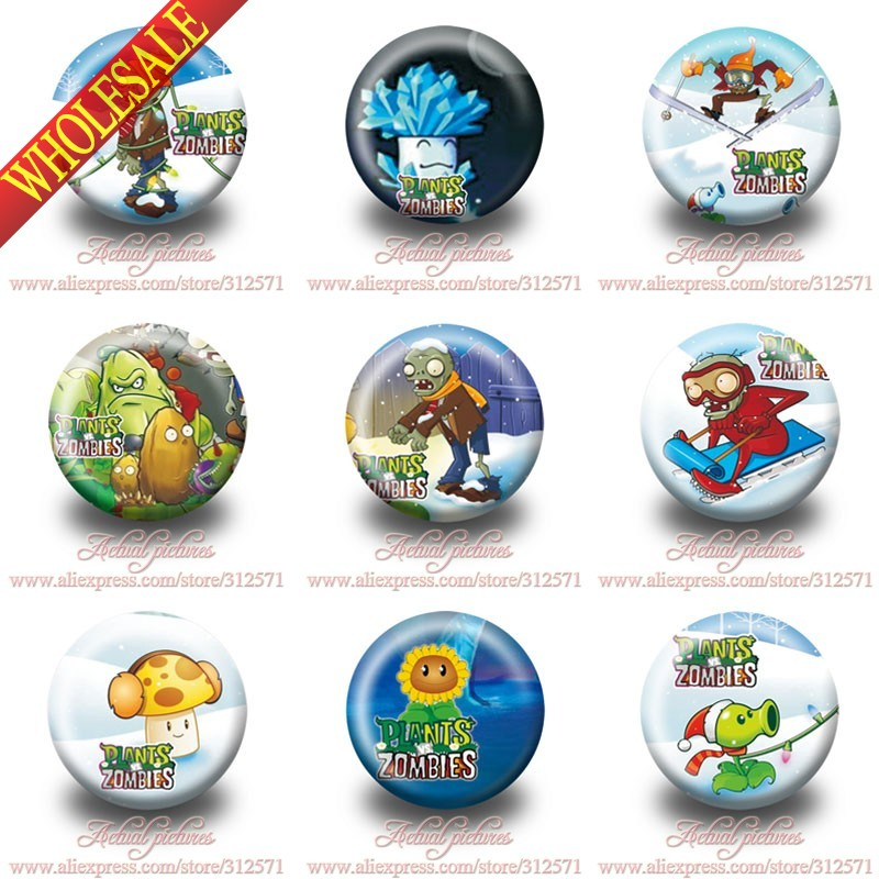 Hot cartoon 90Pcs Plants VS Zombies fashion badges Button Pin Round Brooch Badges,clothes Bags Decorate,party gift мягкие игрушки plants vs zombies котенок 15 см