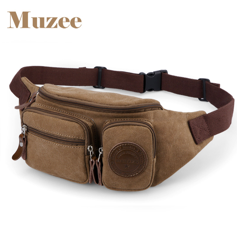 Muzee Men Canvas Waist Bag Pack Purse Money Phone Belt Bag Pouch For Men Chest Crossbody Bag Male Fanny Packs Bags Male