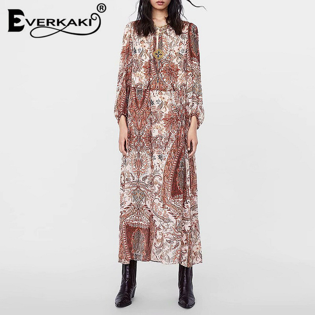 Everkaki Paisley Floral Maxi Dress Sleeve Long Elegant Bohemian Party Dress  Gypsy Print Fall Dresses For Women Clothes 2018 3cef5c1407e2
