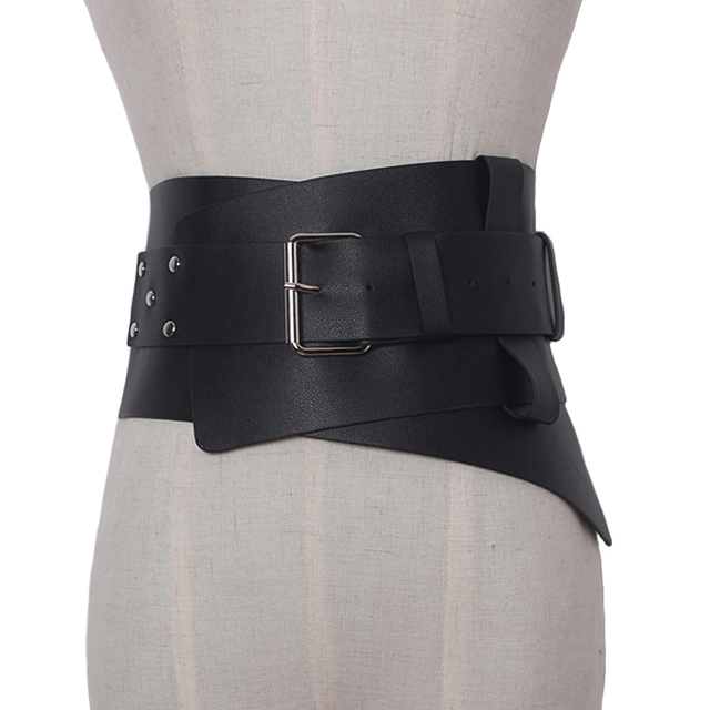 8e46e604b5c New Women ultra Plus wide belt accessories Faux Leather Elastic corset Belt  Front Metal buckle Waist
