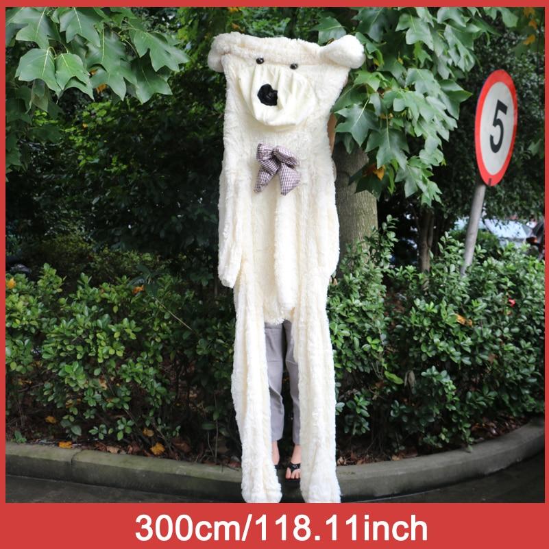Niuniudad peluche en peau d'ours en peluche poupées ours Semi-fini en peau d'ours jouets 300 cm - 3