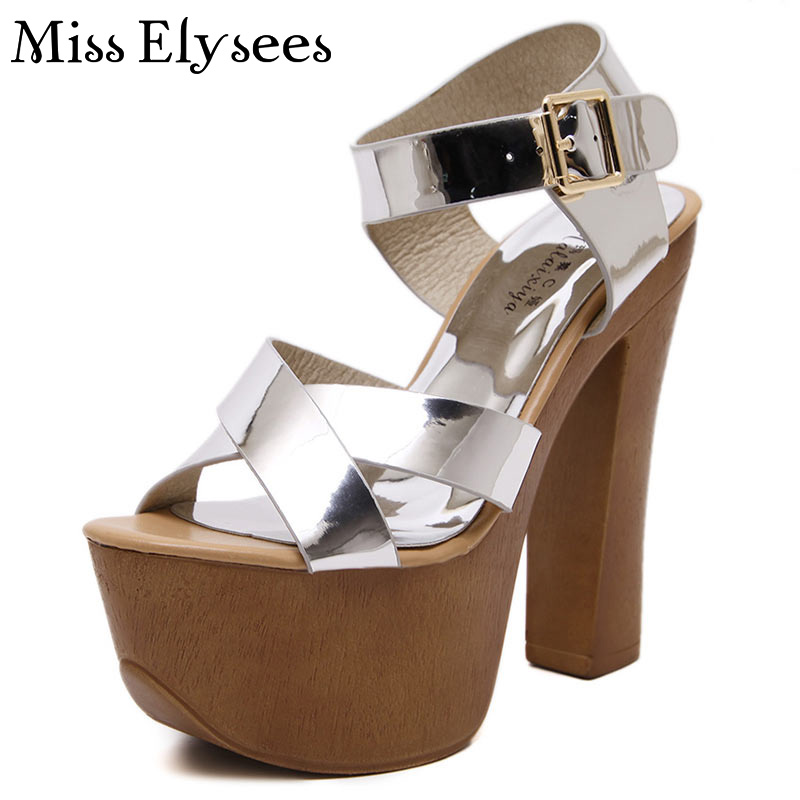 ФОТО Silver Patent Leather Fashion High Heel Sandals Women Female Platform Summer Shoes Cross Strap Woman Sandals Sandalia Feminina