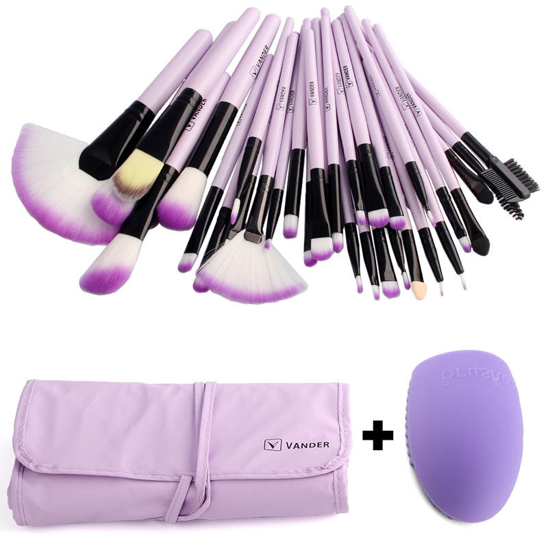 Pro VANDER 32 Pcs Makeup Brushes Bag Set Foundation Powder Pinceaux Maquillage Cosmetics Brush Tools + Cleaning Egg Brushegg top quality copper ferrule makeup brushes 26 pcs professional makeup brush set black pinceaux maquillage with leather bag q02