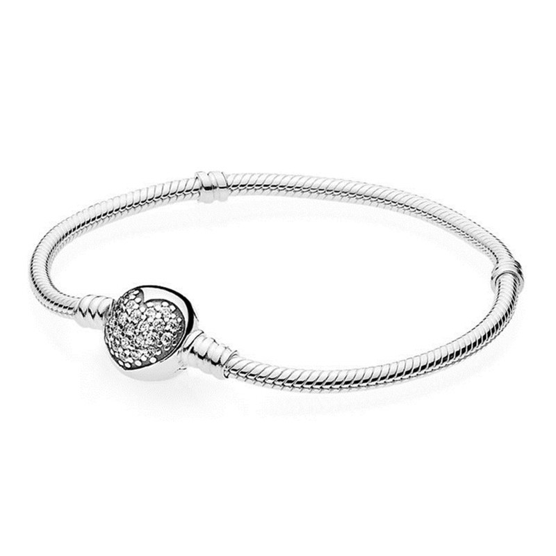 Amour Infini solid 925 Sterling Silver Clear CZ Charm Bead Fit Bracelet Chaîne