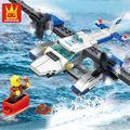 Escala enlighten blocos de construção wange 3d diy tijolos brinquedos modelo de aeronave avião série polícia veículo polícia presente