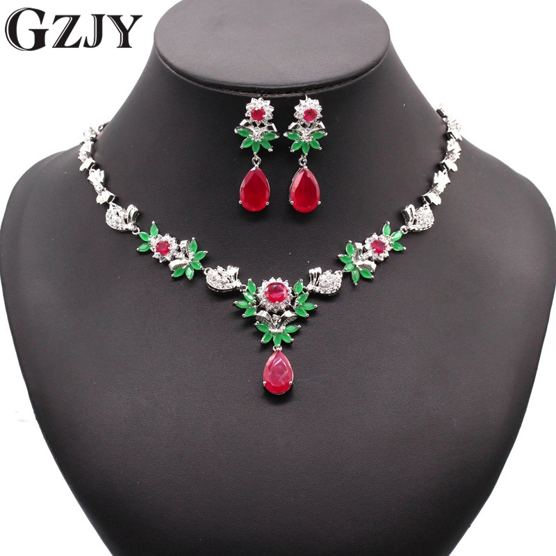 GZJY Luxury Bridal Gold Color Big Water Drop Red&Green AAA Zircon Necklace Earring Jewelry Set For Women Wedding Party Jewelry a suit of vintage embellished water drop wedding jewelry set for women