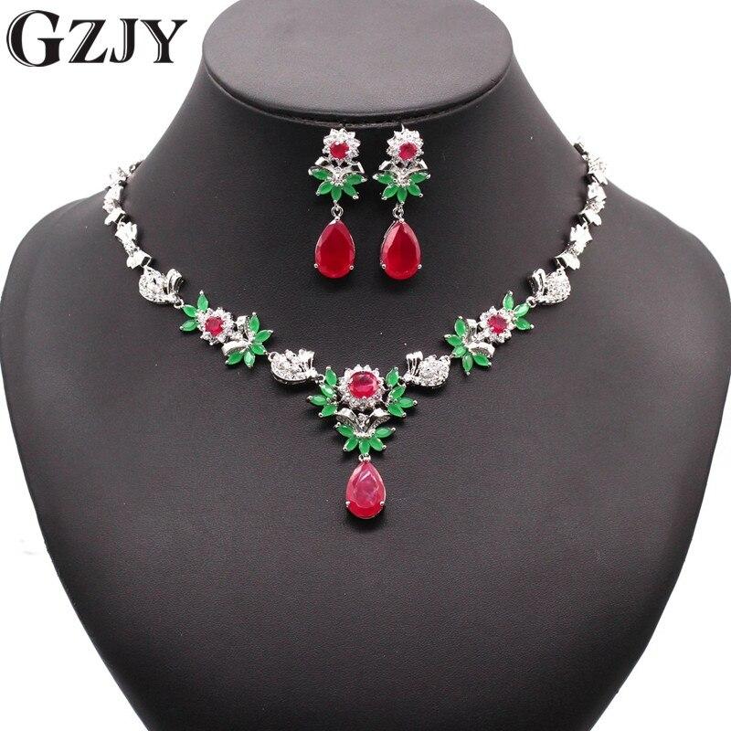 GZJY de luxe nuptiale couleur or grande goutte d'eau rouge et vert AAA Zircon collier boucle d'oreille bijoux ensemble pour femmes bijoux de fête de mariage