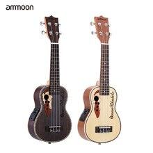 Ammoon – Ukulele acoustique en épicéa de 21 pouces, Mini guitare à 4 cordes avec micro EQ intégré, Instrument de musique à cordes