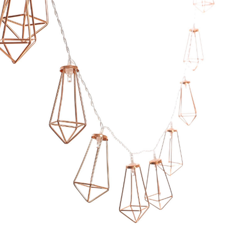 10/20Led Fairy Retro Rose Gold Diamond Battery Operated String Lights LED Decoration For Christmas Garland New Year Gerlyanda