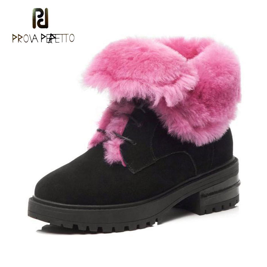 Prova Perfetto women snow boots black suede leather round toe thick bottom short boots plush inside lace up martin boots females round toe suede lace up mens boots