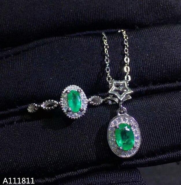 ce486538dcf7 KJJEAXCMY Boutique de 925 de plata pura con incrustaciones naturales  Esmeralda mujer conjunto de joyas anillo