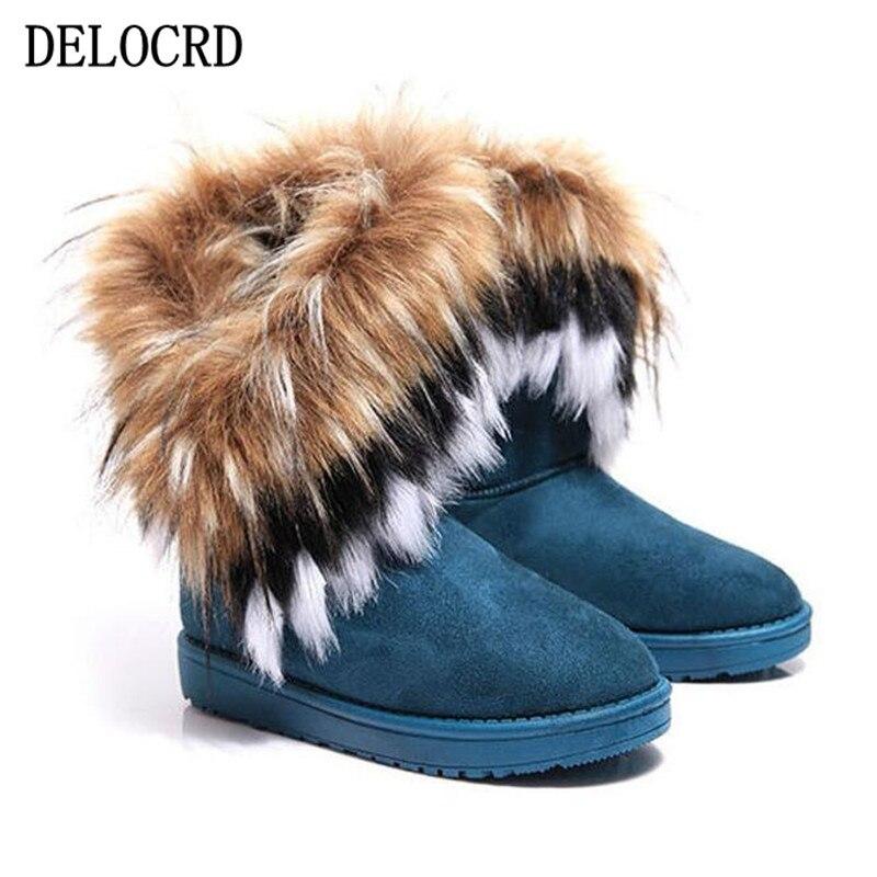 Mode frauen Stiefel Winter Neue Schnee Stiefel in Die Rohr nachahmung Fuchs Haar Damen Baumwolle Stiefel Komfortable Warme Frauen der Stiefel