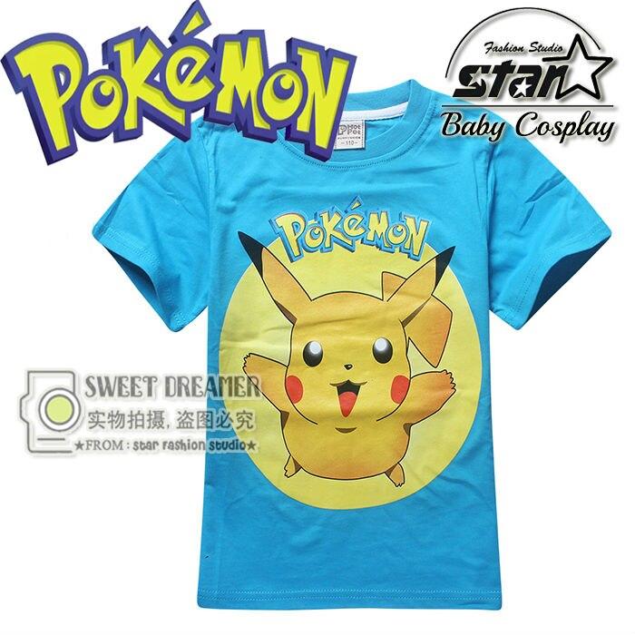Pokemon Go Boys T shirt Fashion Pikachu Stitch Tops Pikachu Printed t shirts Boy Short Sleeve