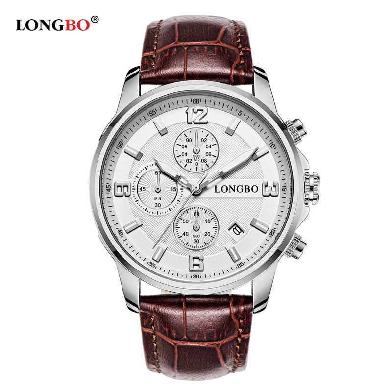 LONGBO 2017 Top Luxury Brand Men Quartz Watch Men Fashion Casual WristWatches Leather Strap Waterproof Watches Six Pin Masculino