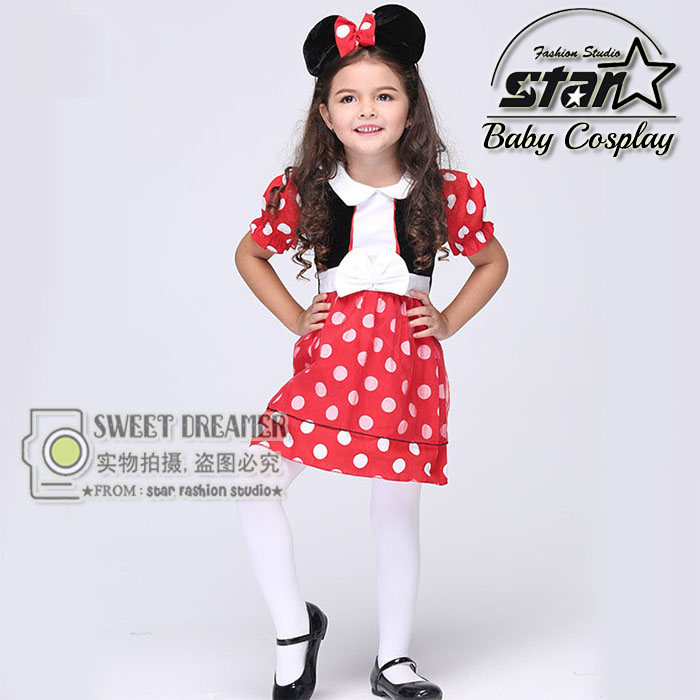 2016 Kids Gift Minnie Mouse Party Fancy Costume Cosplay Girls Ballet Tutu Dress+Ear Headband Girls Polka Dot Dress Clothes Bow