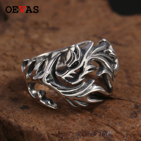 Real S925 Silver Hollow out Dragon rings for men Top quality 925 Sterling Silver Open size Gothic Punk Ring Thai Silver jewelry