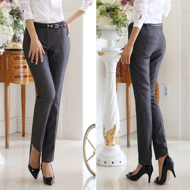 3edab09a5a9 OL Korean Style Brand New Formal Pants Women Work Wear Office Career Slim  Long Straight Suit Pant Ladies Trousers Plus Size xxl