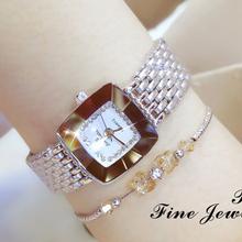 2019 luksusowe marki zegarek dla kobiet placu diament kobieta zegarki moda ze stali nierdzewnej kryształ złoty zegarek kwarcowy damska sukienka zegarek tanie tanio QUARTZ ALLOY Składane zapięcie z bezpieczeństwem 3Bar DRESS Odporne na wodę FA1197 15mm 23cm 10mm 25mm Papier Hardlex