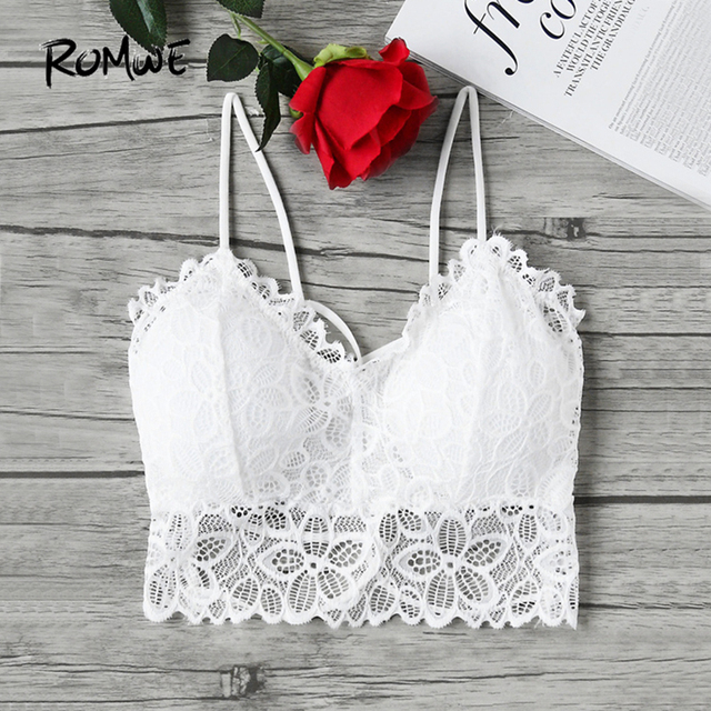 424141bf2c ROMWE Strappy Lace Camisole Sexy Boho Crop Top White Bralette Women Vintage  Summer Tops New Elegant