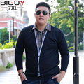 BIG GUY Fake Two 6XL 7XL Plus Size Men Shirts Long Sleeve 2016 Spring Camisas Hombre Casual Asian Male Clothes 1416 PZ3
