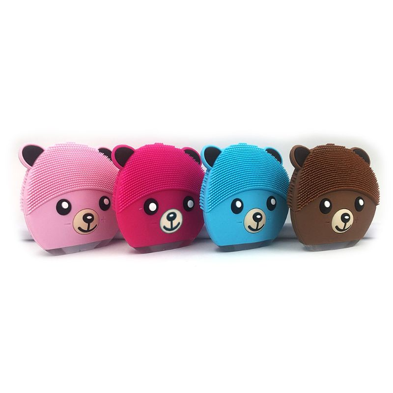 Mini Bear Electric Face Cleansing Brush USB Rechargeable Silicone Facial Cleanser Deep Pore Cleaning Water-Resistant Vibrating