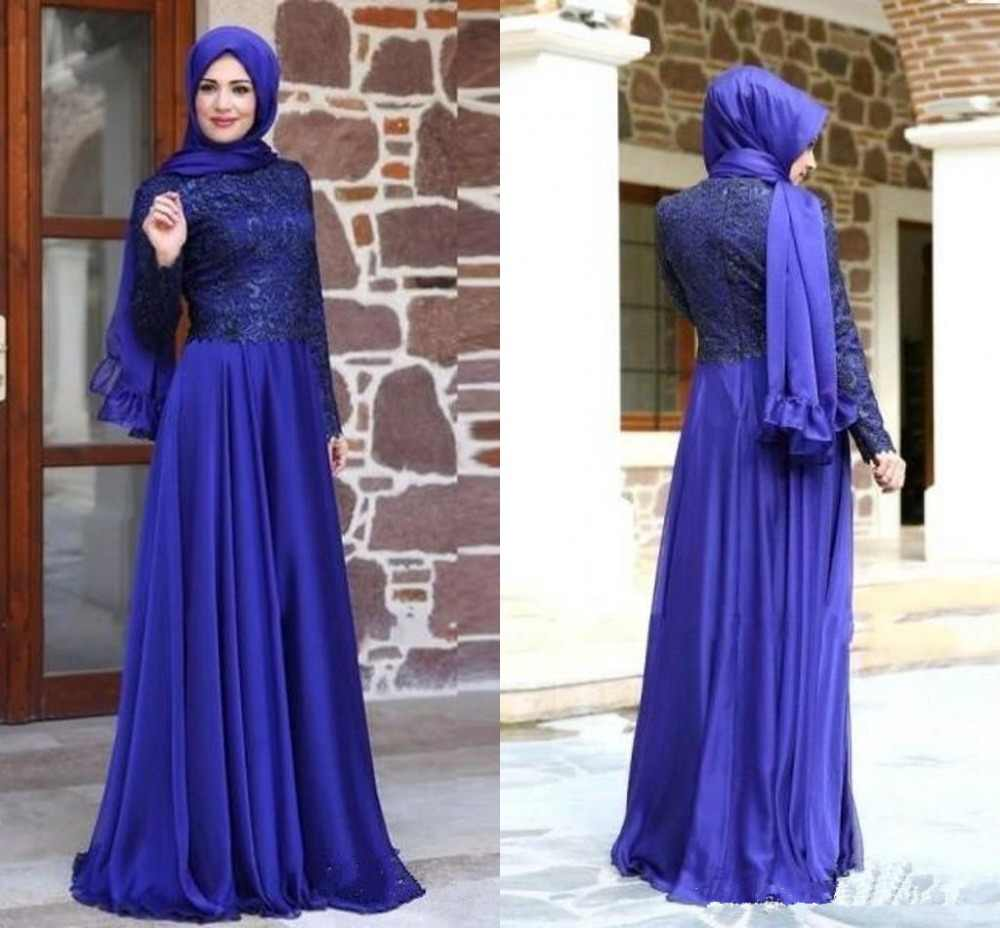 Detail Feedback Questions about Royal Blue Muslim Evening Dresses 2019 A  line Long Sleeves Chiffon Lace Islamic Scarf Dubai Saudi Arabic Long Prom  Evening ... 600fca3bfab7