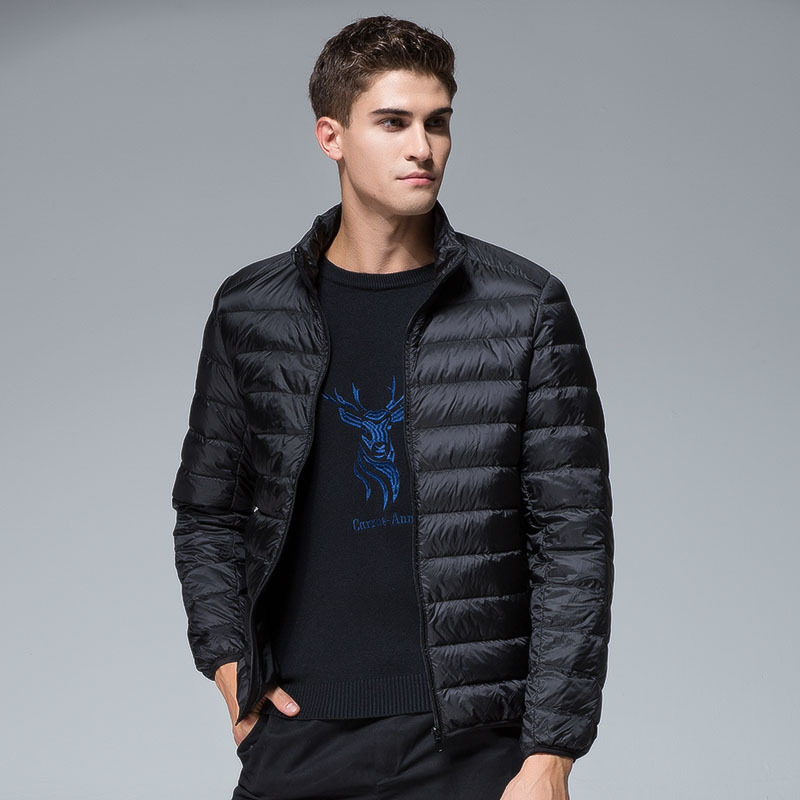 2019 winter men's casual Thin section slim Stand collar duck   down   jackets windproof waterproof keep warm   down     coats   6 colors