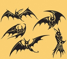 Creative Five Black Bats Gothic Style Scarying Wall Mural Not Only For Halloween Special Decor Animal Series Art Home DecorY-960