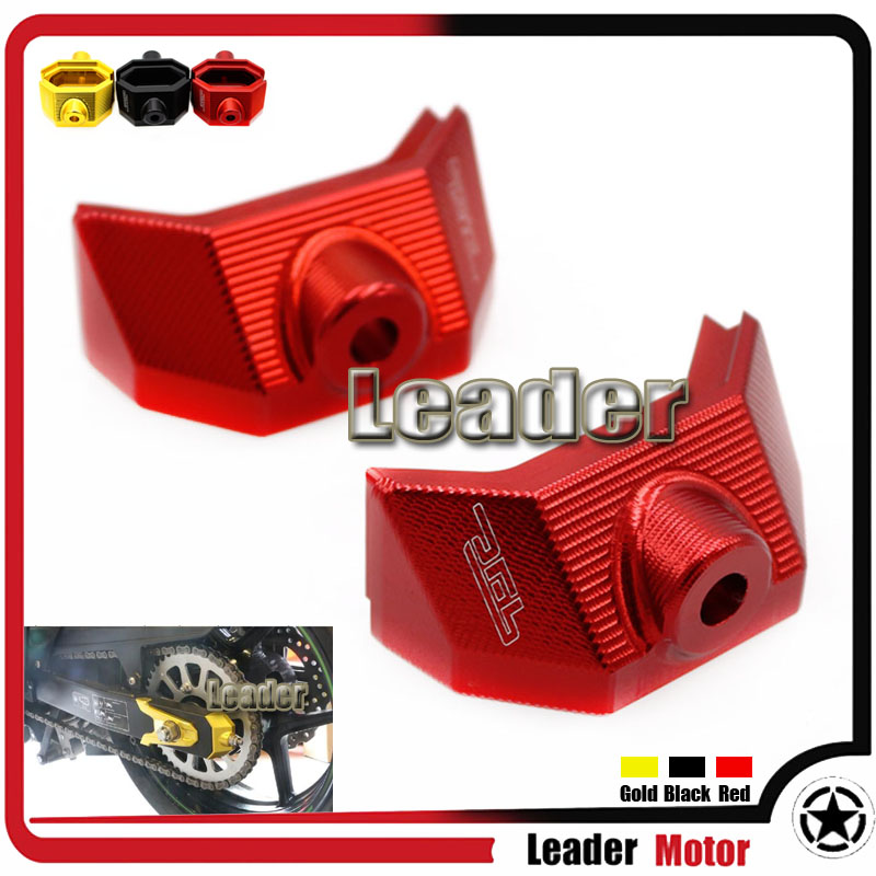 ФОТО Hot Sale Motorcycle Accessories CNC Rear Fork Spindle Chain Adjuster Blocks For Kawasaki Z800 Z 800 2013 2014 2015 Z 800 Red