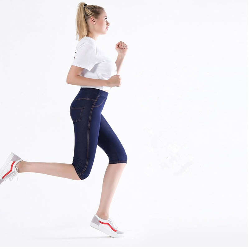 Shikoroleva Women's Leggings Summer 3/4 Capris Elastic Cotton Intimation Denim Jeans Jeggings Black Blue Plus Size 5XL 4XL Pant