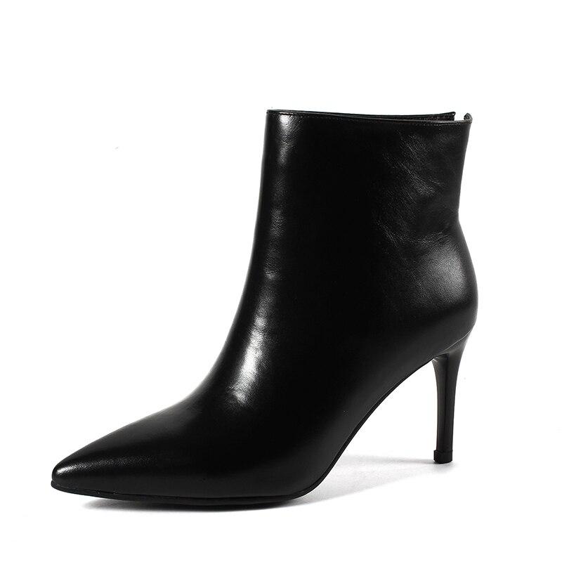 43 Sexy Botas Tamaño Natural Mujer Karinluna Tacón Zapatos Alto Llegadas Negro blanco Genuino De Cuero Gran Tobillo Vaca Nuevas g6aw6nz8