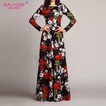 S.FLAVOR 여성 우아한 오 넥 롱 드레스 캐주얼 긴 소매 빈티지 꽃 프린트 맥시 드레스 가을 패션 슬림 파티 Vestidos